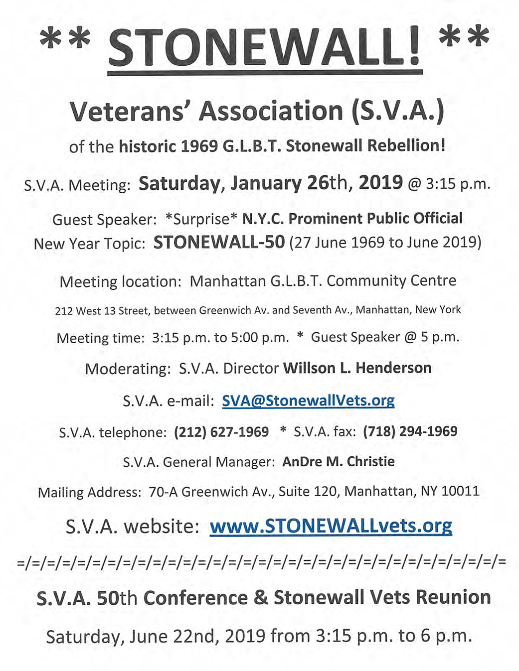 S.V.A. Monthly Meeting - Saturday 26, 2019