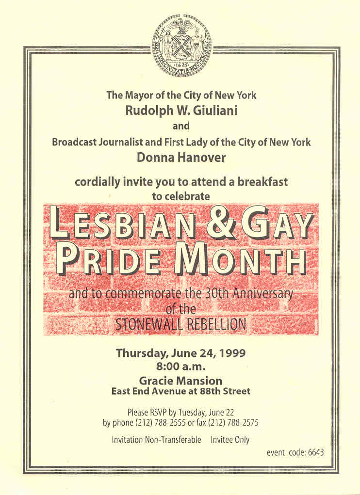 1999 - N.Y.C. Mayor Rudy Giuliani's Invitation for his Gay Pride Celebration ...