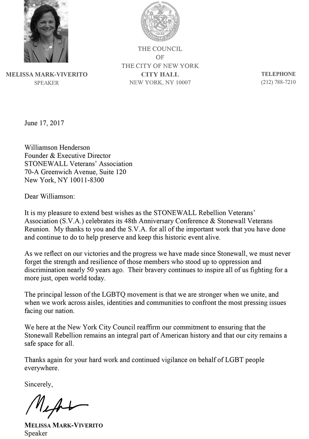 2017 - Council Speaker Melissa Viverito's Letter to the STONEWALL Vets