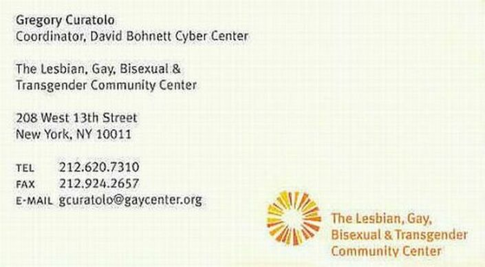 Visit the N.Y.C. Gay Community Services Center at: www.GayCenter.org