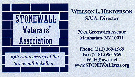 Stonewall Veterans Association Business Card