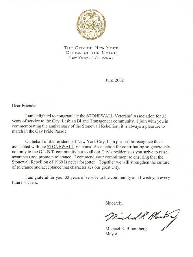 New York City Mayor Michael R Bloomberg STONEWALL Vets Assn