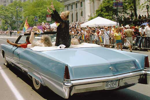 Rear view of the grand 1969 Cadillac Stonewall Car leading a NYC Pride parade
